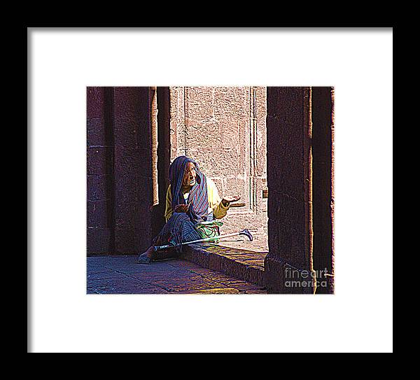 Old Framed Print featuring the digital art Old Woman In Centro by John Kolenberg