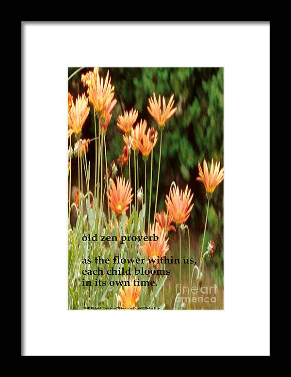 Poem Framed Print featuring the photograph Old Zen Proverb by Richard Donin