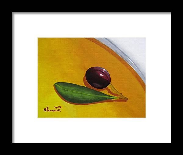 Yellow Framed Print featuring the painting Olive In Olive Oil by Kayleigh Semeniuk