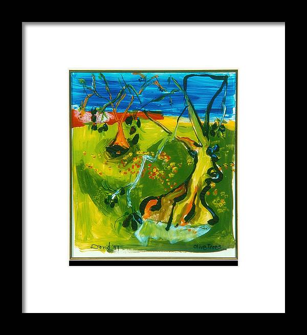 Landscape Framed Print featuring the painting Olive Trees by David Martin