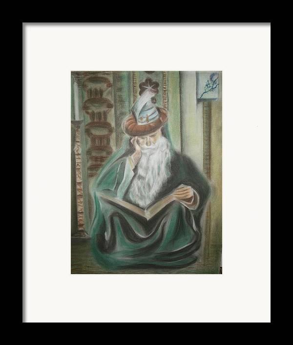 Omar Khayyam Framed Print featuring the pastel Omar Khayyam by Prasenjit Dhar