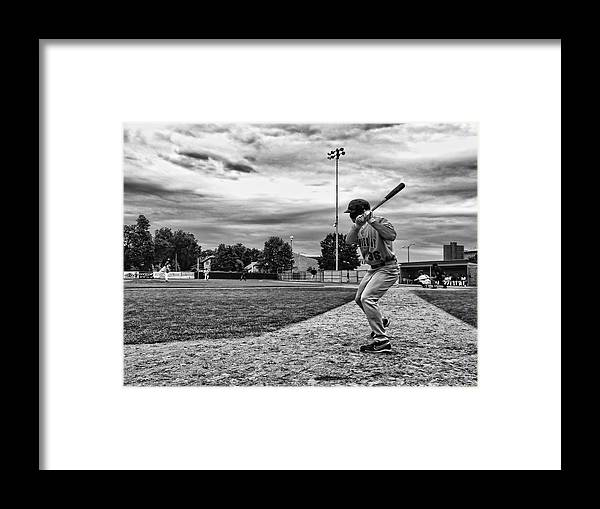 Baseball Local Ballpark Black White Pitcher Batter On Deck Next Clouds Rochester Minnesota Framed Print featuring the photograph On Deck by Tom Gort
