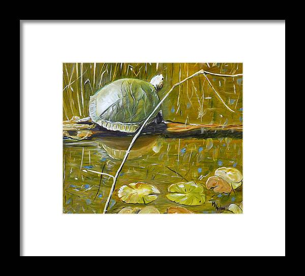 Turtle Framed Print featuring the painting On The Lookout by Mark Malone