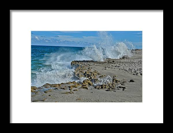 Ocean Framed Print featuring the photograph On The Rocks 2 by Julio n Brenda JnB