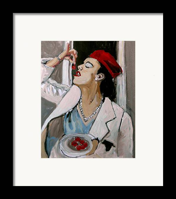 Portrait Framed Print featuring the painting One Cherry Less by Adam Kissel