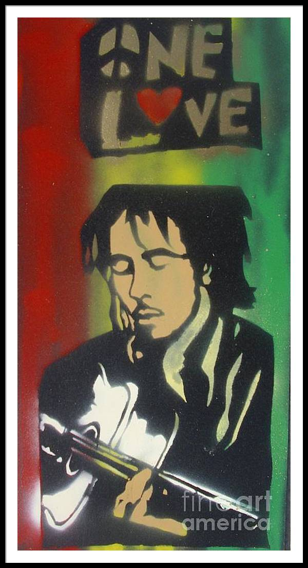 Hip Hop Framed Print featuring the painting One Guitar by Tony B Conscious
