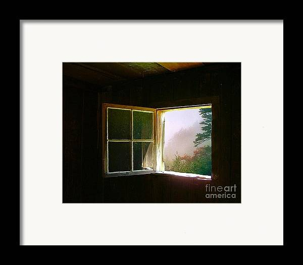 Log Cabin Framed Print featuring the photograph Open Cabin Window In Spring by Julie Dant