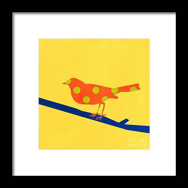 Bird Framed Print featuring the mixed media Orange Bird by Linda Woods