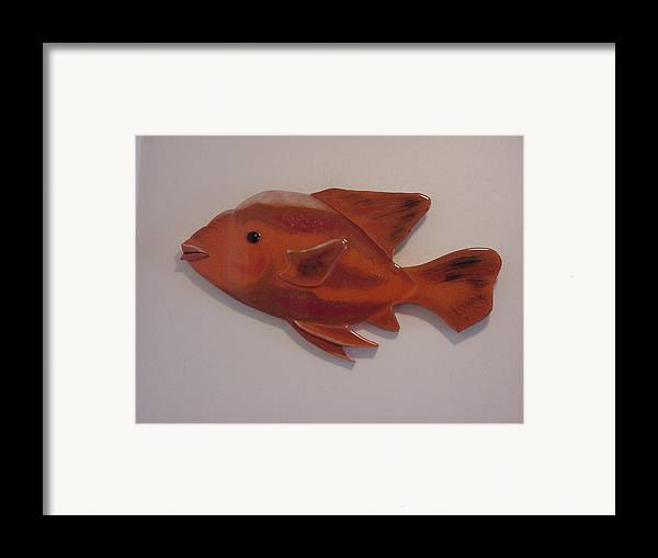Fish Framed Print featuring the mixed media Orange Fish by Val Oconnor