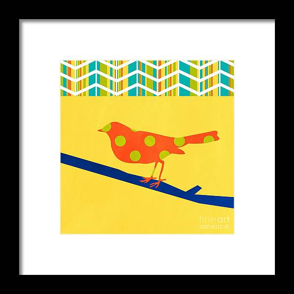 Bird Framed Print featuring the mixed media Orange Polka Dot Bird by Linda Woods