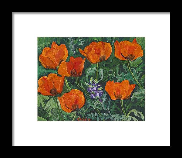 Poppies Framed Print featuring the painting Orange Poppies by Christina Plichta