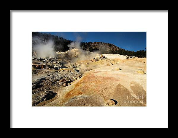 Lassen Volcanic National Park Framed Print featuring the photograph Orange Thermal Crust by Adam Jewell