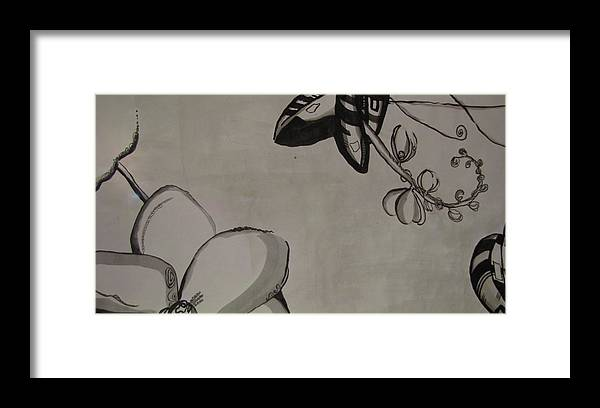 Black Framed Print featuring the painting Orchid Scroll 5 by Holly Berry