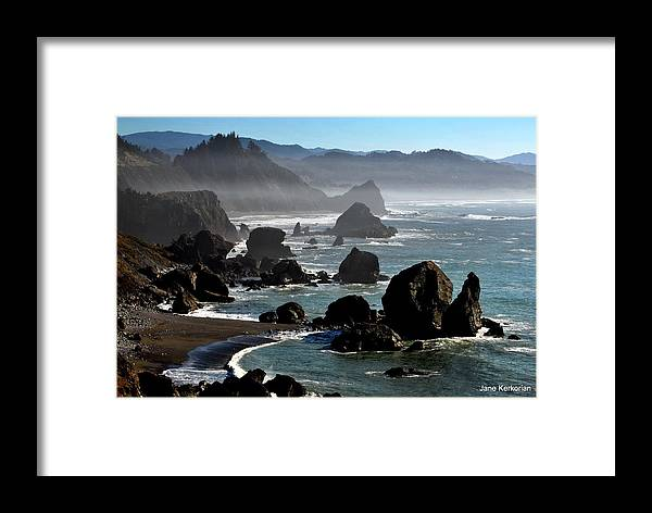 Ocean Framed Print featuring the photograph Oregon Coastline by Jane Kerkorian