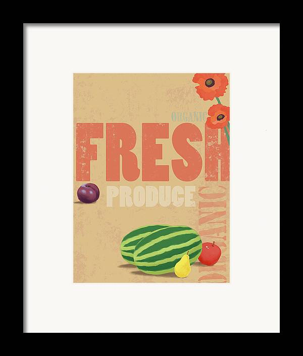 Vertical Framed Print featuring the digital art Organic Fresh Produce Poster Illustration by Don Bishop