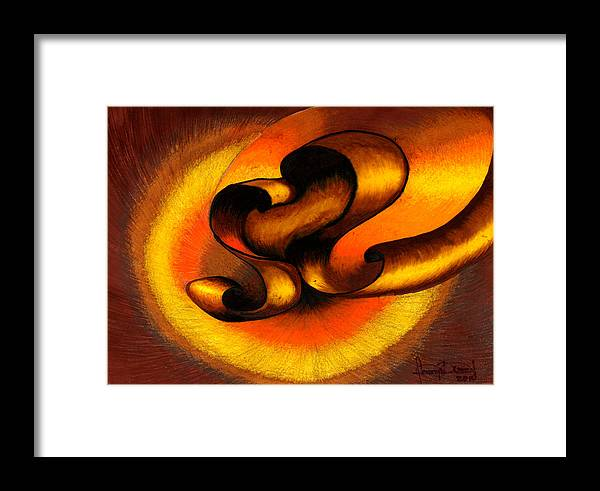 Abstract Framed Print featuring the painting Original Abstract Orange by Fanny Diaz