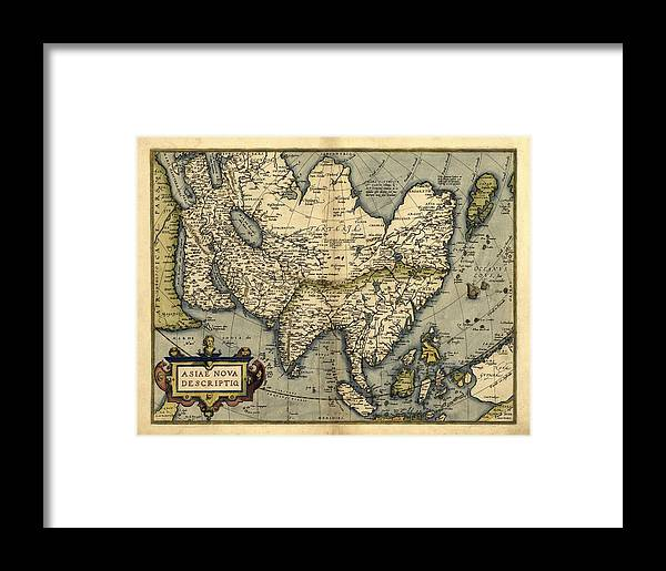 Asia Framed Print featuring the photograph Ortelius's Map Of Asia, 1570 by Library Of Congress, Geography And Map Division