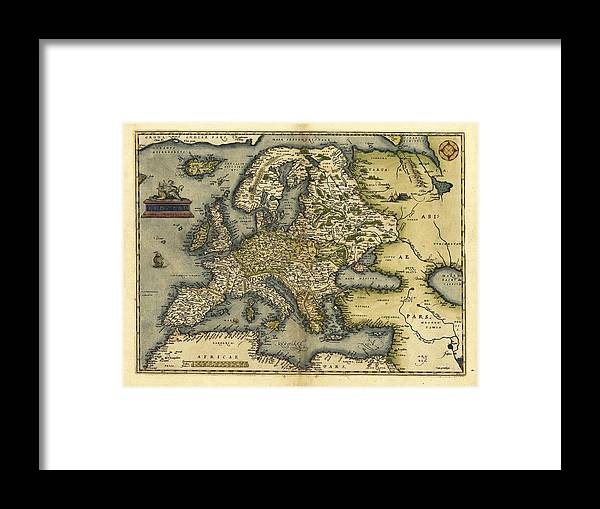 Europe Framed Print featuring the photograph Ortelius's Map Of Europe, 1570 by Library Of Congress, Geography And Map Division