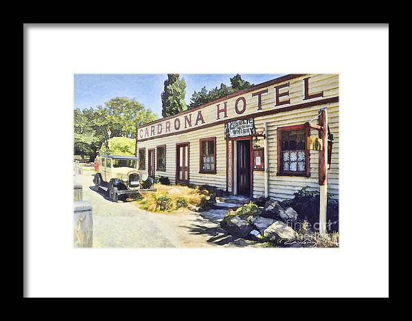 Framed Print featuring the digital art out front Cardrona Hotel by Chris Warring