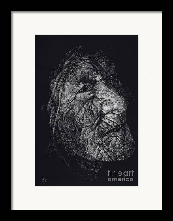 Woman Framed Print featuring the drawing Out Of Greaheadedness Wisdome Comes Forth by Yenni Harrison