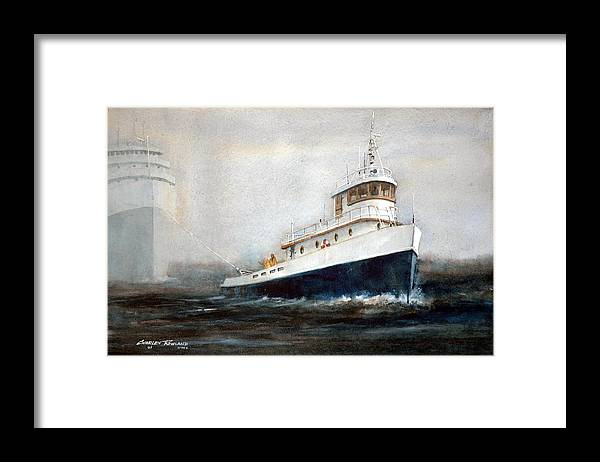 Ships Framed Print featuring the painting Out of the Fog by Charles Rowland