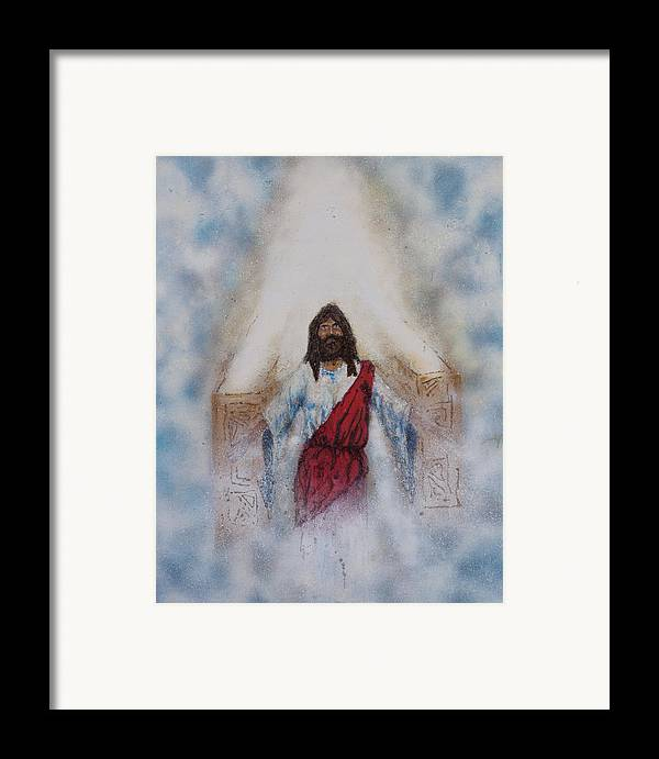 Art Framed Print featuring the painting Out Of The Midst Of The Throne Came The Lamb by Thomas Lentz