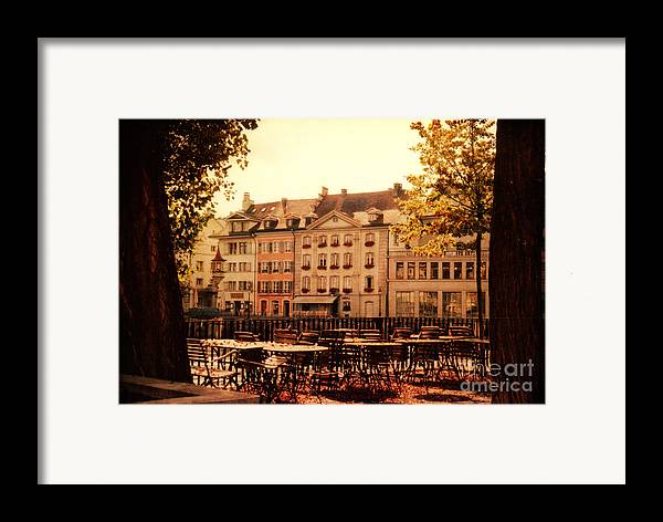 Lucerne Framed Print featuring the photograph Outdoor Cafe In Lucerne Switzerland by Susanne Van Hulst
