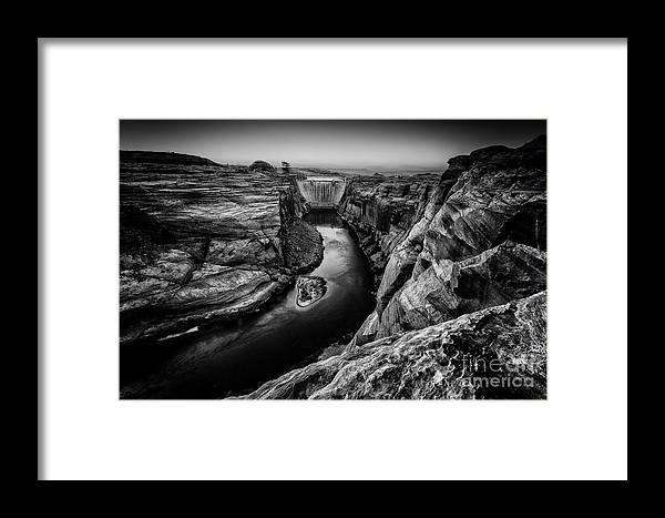 Landscapes Framed Print featuring the photograph Over The Glen Canyon Dam by Geoffrey Gilson