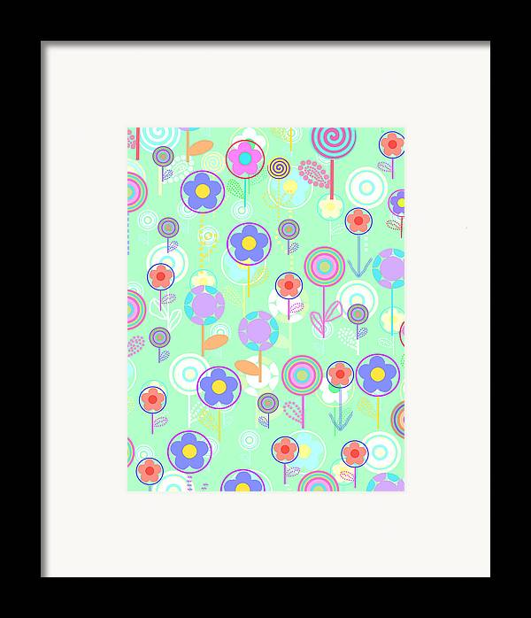 Louisa Framed Print featuring the digital art Overlayer Flowers by Louisa Knight