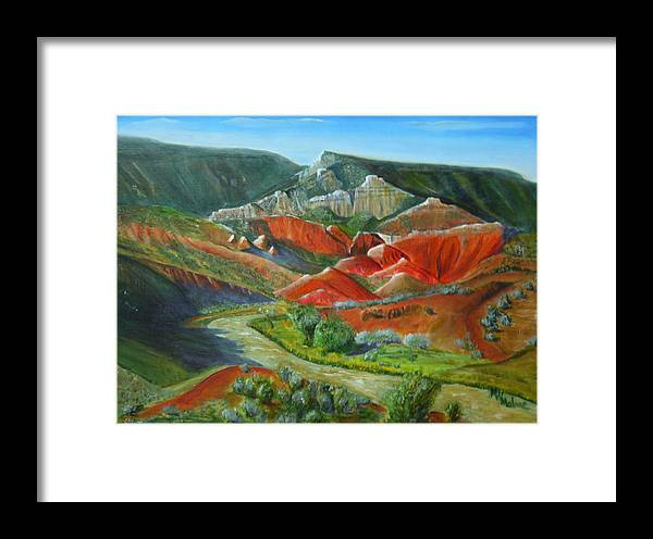 New Mexico Framed Print featuring the painting Overlook Near Ghost Ranch by Mark Malone