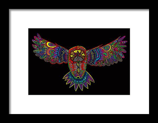 Owl Framed Print featuring the painting Owl 1 by Karen Elzinga
