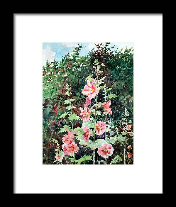 Peter Sit Watercolor Framed Print featuring the painting Oxenden Hollyhock by Peter Sit
