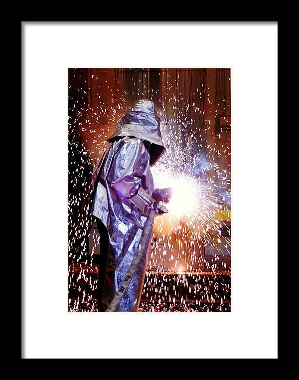 Human Framed Print featuring the photograph Oxy-acetylene Cutting by Richard Kail