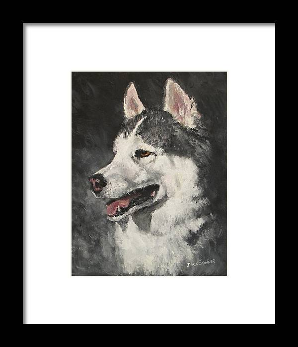 Dog Framed Print featuring the painting Ozzie by Jack Skinner