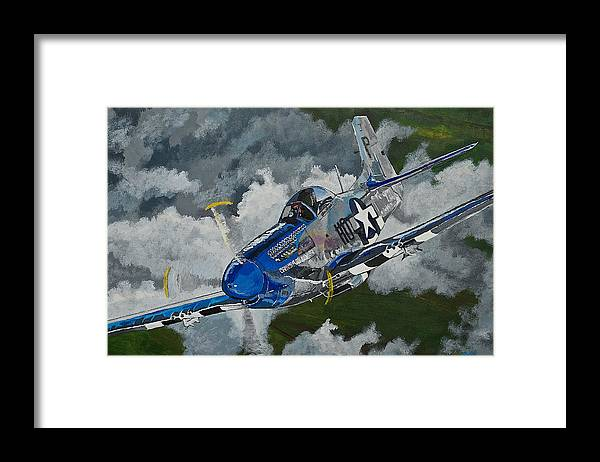 Aircraft Framed Print featuring the painting P-51 Mustang Over Germany by Terry Gill