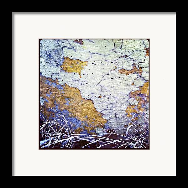 Chipping Paint Framed Print featuring the photograph Painted Concrete Map by Anna Villarreal Garbis