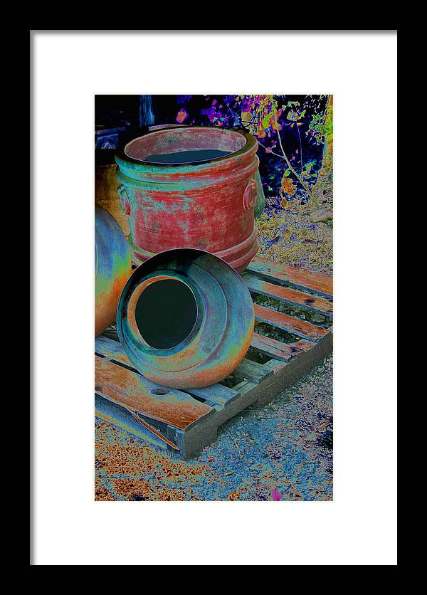 Painted Framed Print featuring the photograph Painted Pots Pallet by Nina Fosdick