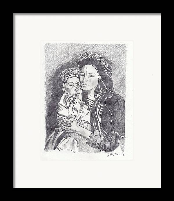 Pakistan Framed Print featuring the drawing Pakistani Mother And Child by John Keaton