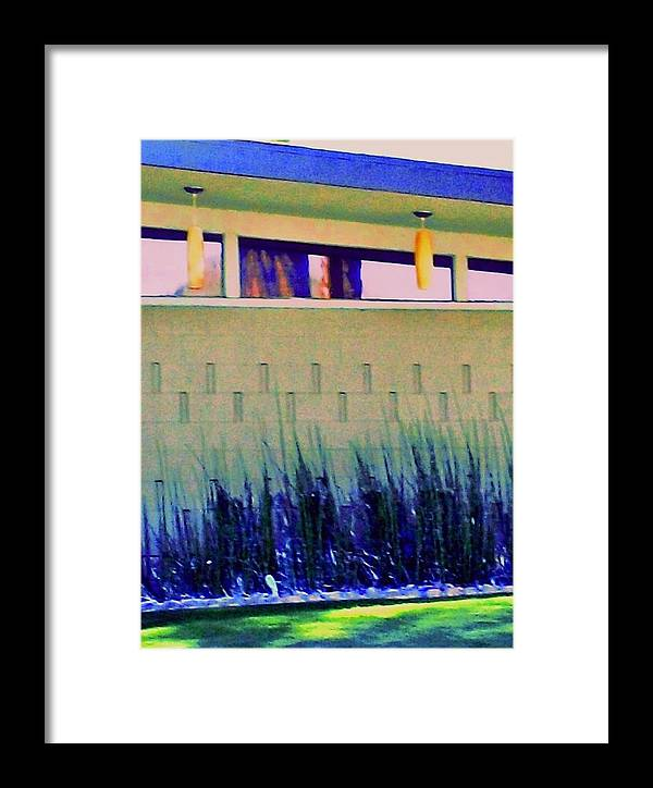 Modern Architecture Framed Print featuring the photograph Palm Springs Modern Home Lights by Randall Weidner