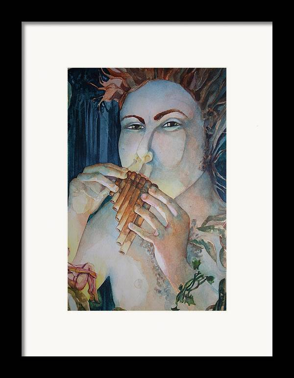 Pan Flute Fife Fairy Mid Summer Nights Dream Framed Print featuring the drawing Pan 2 by Jackie Rock