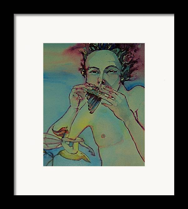 Pan Fairies Fairy Fife Flute Boy Framed Print featuring the drawing Pan by Jackie Rock