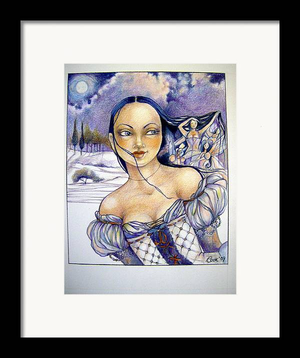 Moon Fairies Blue Snow Woman Framed Print featuring the drawing Pandora by Jackie Rock
