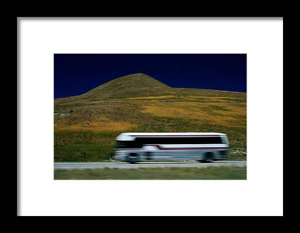 Outdoors Framed Print featuring the photograph Panned View Of A Bus On Interstate 15 by Raymond Gehman