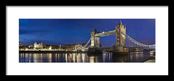 London Framed Print featuring the photograph Panorama Of Tower Bridge And Tower Of London by Travel Images Worldwide