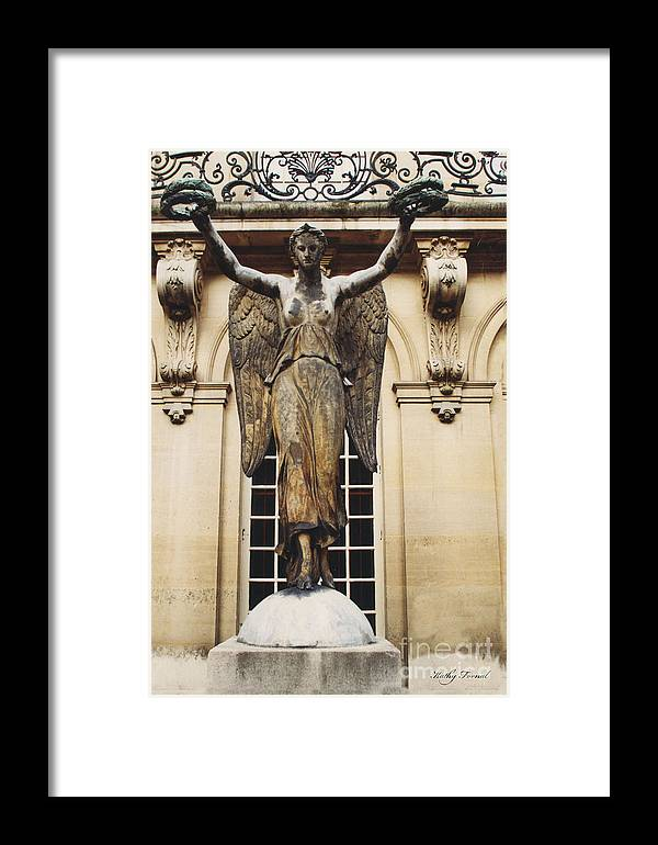 Carnvalet Statue Angel Framed Print featuring the photograph Paris Courtyard Musee Carnavalet Angel Statue - Victory Allegorical Angel Statue by Kathy Fornal