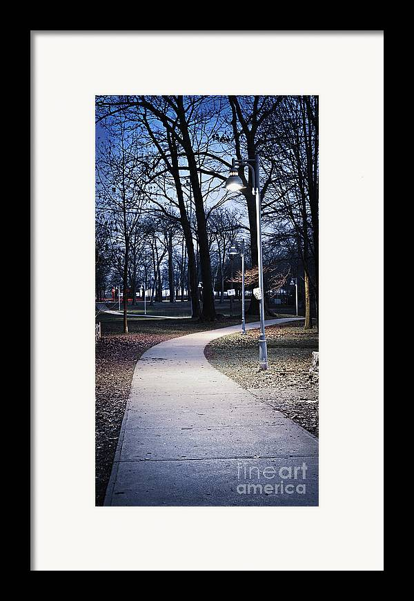 Park Framed Print featuring the photograph Park Path At Dusk by Elena Elisseeva