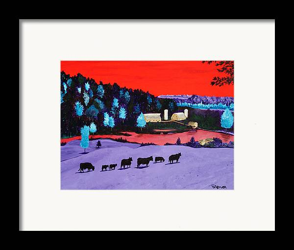 Landscape Framed Print featuring the painting Pastures And Pond by Randall Weidner
