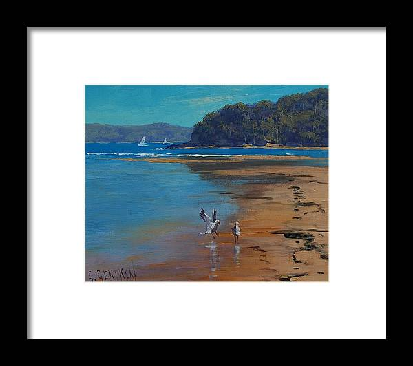 Seascape Framed Print featuring the painting Patonga Beach Australia by Graham Gercken