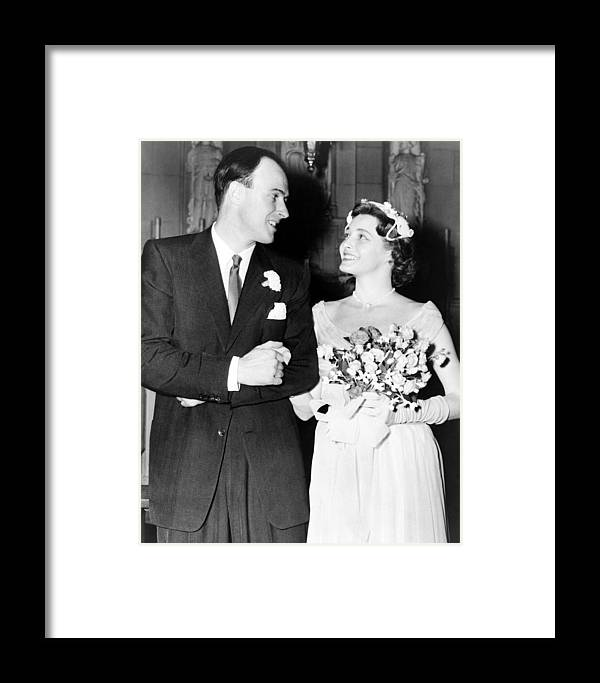 2008-2 Framed Print featuring the photograph Patricia Neal B. 1926 And Roald Dahl by Everett