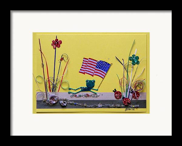 4th July Framed Print featuring the mixed media Patriot Frog by Gracies Creations